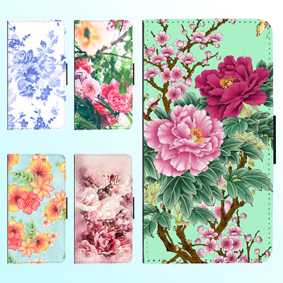 Galaxy S9 S8 Plus S7 Note 8 PU Leather Flip Wallet Case Flower Floral I Cover