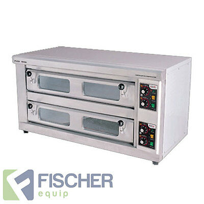 """""""brand New"""" Commercial Double Deck Benchtop Electric Pizza Oven, Stone-Base"""
