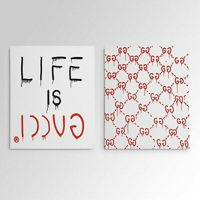 """Life Is Gucci"" Gallery Art Canvas Print Pop Culture Hypebeast Art - 2 Piece Set"