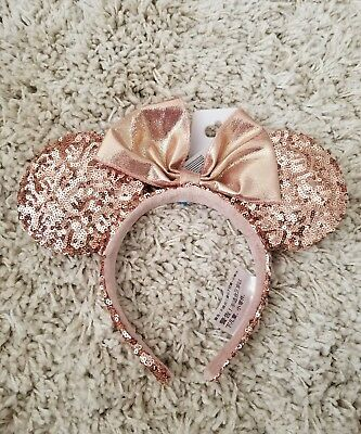Authentic Disney Parks Disneyland Rose Gold Minnie Mouse Ears Sequins Headband