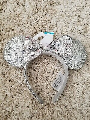 Authentic Disney Parks Disneyland Minnie Mouse Silver Bow Sequins Ears Headband