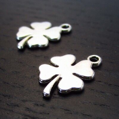 Four Leaf Clover 18mm Antiqued Silver Plated Charms C6695 - 10, 20 Or 50PCs