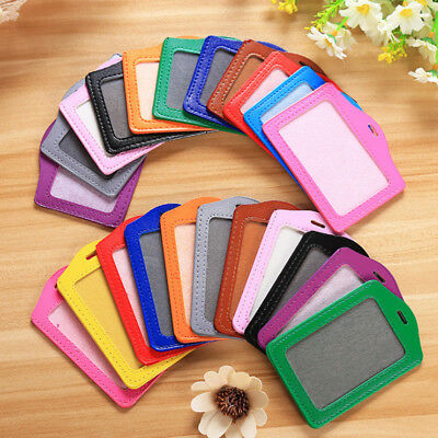 Durable Leather ID Card Holder Case Badge Workers Card Work Permit Neck Strap