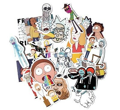 4 pack (35pcs) Rick And Morty Car Sticker Adult Cartoon Vinly Decals Macbook