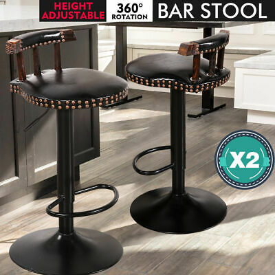 2x Retro Vintage Industrial Bar Stool Steel Home Kitchen Cafe Swivel Barstool Bl