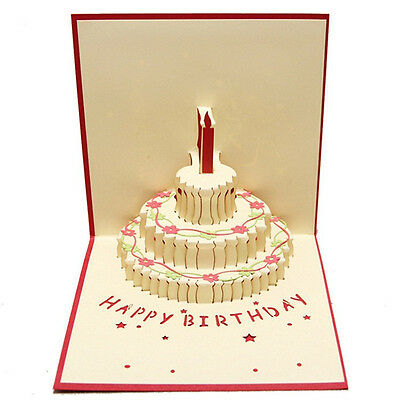 3D Pop Up Greeting Cards Birthday Cake Valentines Anniversary Easter Thanks Gift