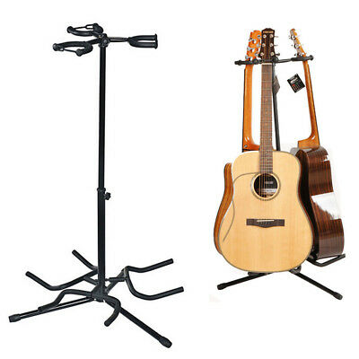 Folding Electric Acoustic Bass Tripod Guitar Stand GIG Floor Rack Holde 3 Guitar