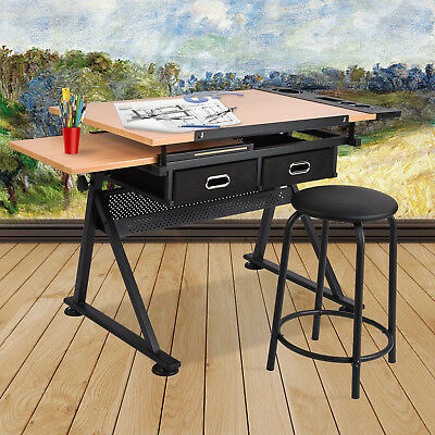 Drawing Bench Art Craft Drafting Table With Stool Set Folding Adjustable Desk
