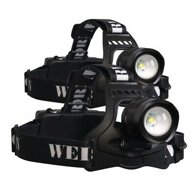 2x Weisshorn 13000LM LED Headlamp Headlight Flash Lamp Torch 5 Modes Camping