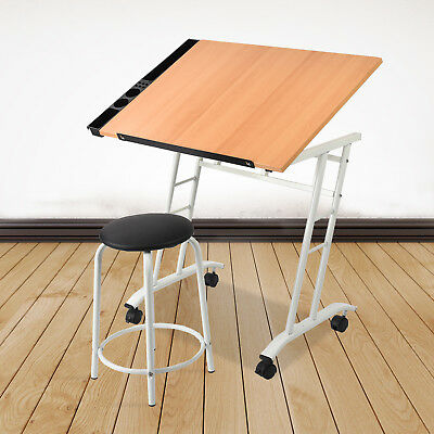 Adjustable Tabletop Drafting Table  Art Craft Drawing Desk and Stool Set