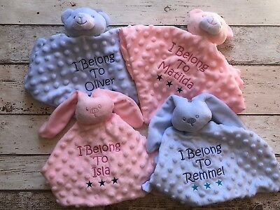 Personalised Baby Comforter Blanket Teddy Bear/bunny Newborn Christening Gift