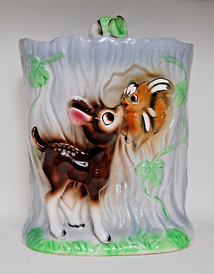 Vintage Biscuit / Cookie Jar / Barrel, Japanese, Bambi, Deer, Fawn, Tree Trunk.