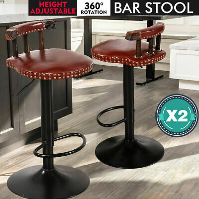 2x Retro Brown Vintage Industrial Bar Stool Home Kitchen Cafe Swivel Barstool