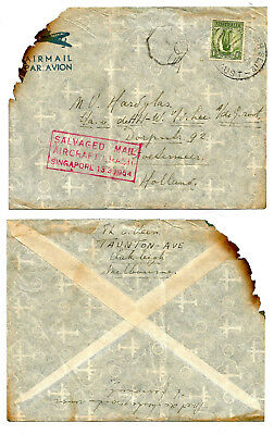 SINGAPORE 1954 salvaged CRASH cover, taxed 0, from Australia to Holland