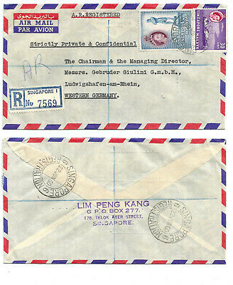 SINGAPORE 1960 REGIST AR cover to Germany