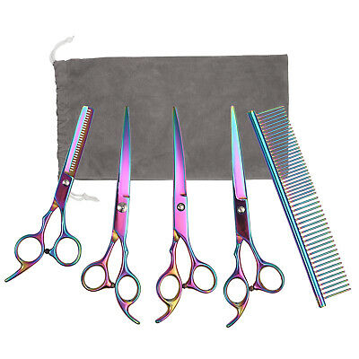 """6"""" Hair Cutting Scissors Curved Shears Professional Tool Dog Pet Grooming Kits"""
