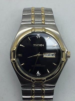 Vintage ELGIN FG132 Diamond S.Steel Gold Plated Day/Date 37mm Stretchy Watch