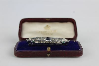 Vintage True Art Deco STERLING SILVER & Paste Brooch BOXED 9g