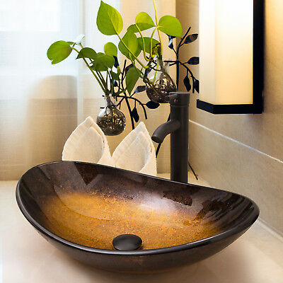 Bathroom Oval Bowl Tempered Glass Vessel Sink Faucet W Pop Up Drain