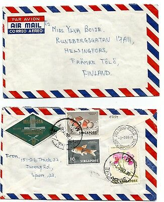 SINGAPORE MALAYSIA  1964 MIXEd franking cover to Finland