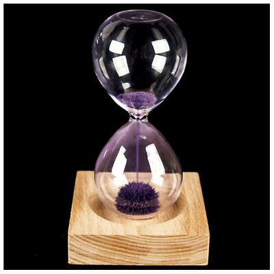 Purple wood + glass + iron powder sand iron flowering magnetic hourglass wi A4F5