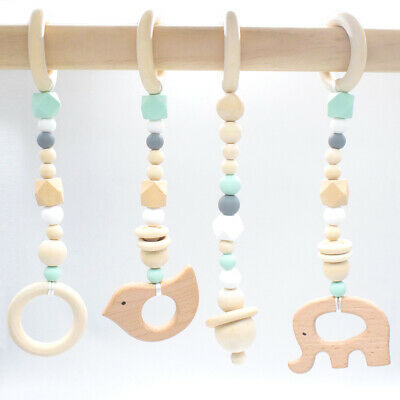 4Pcs Animal Bird Wood Teether Baby Play Gyms Toys Silicone Teething Stroller Toy