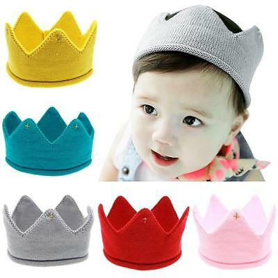 Baby Infant Headwear Cute Boys Girls Crown Knit Headband Hats Hair Accessories