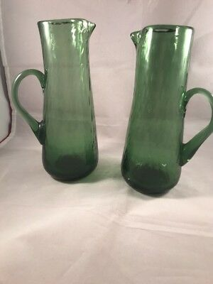 "2 Hand Blown Green Optic Art Glass Pitchers Creamers Applied Handles 7.25"" Tall"