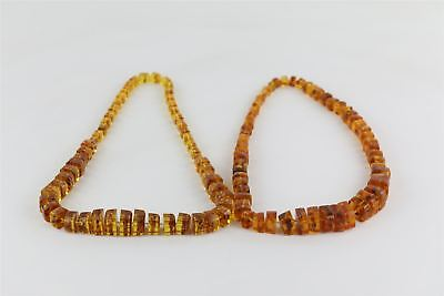 Lot of 2 x Modern AMBER Filled Resin Beaded Necklaces Mixed Designs -319g