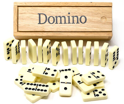 Double six dominoes in wooden box