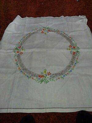 "VINTAGE LINEN HAND EMBROIDERED  TABLECLOTH 36"" X 35"" , flowers"