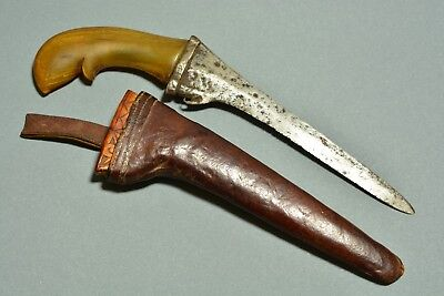 Antique Arabic Islamic Knife Dagger Kindjal With Leather Scabbard