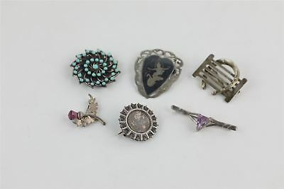 Lot of 6 x Vintage .925 STERLING SILVER Brooches Mixed Designs -36g
