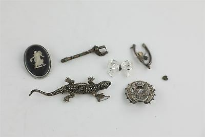 6 x Vintage .925 STERLING SILVER Brooches Mixed Designs Inc. Wedgwood -45g
