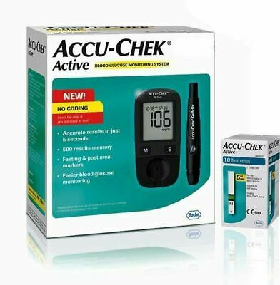 Accu-Chek Active Glucose Monitor with 10 Strips Glucometer Free Shipping