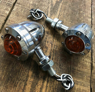 Pair Indicators Cafe Racer Motorcycle Bike Silver Billet Alloy Bobber Chopper