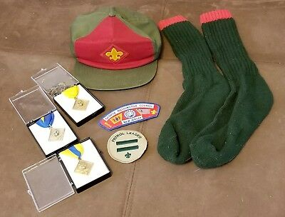 BOY SCOUT, CUB SCOUT 1990s LOT, awards, medals, patches, hat, socks