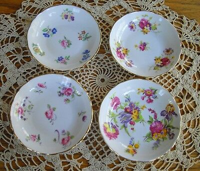 """Vintage New Chelsea Staffs Bone China 4"""" Plates Butter Pats England ~ Set of 4~"""