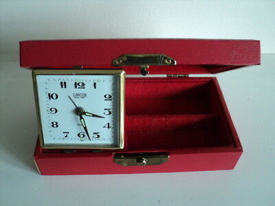 Vintage Coral Alarm Clock / Trinket Leather Box Hand Winding Made in Japan