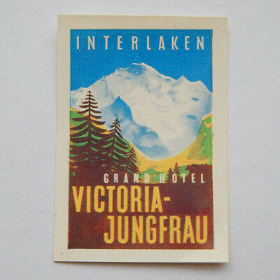 Vintage Interlaken Grand Hotel Victoria-Jungfrau Swiss Luggage Label [1.75x2.5]