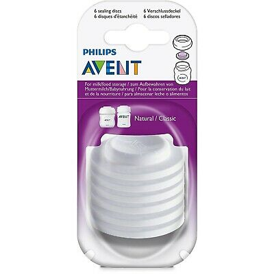 6 x Philips Avent Baby Bottle Sealing Seal Discs, Leak & Spill Proof SCF143/06