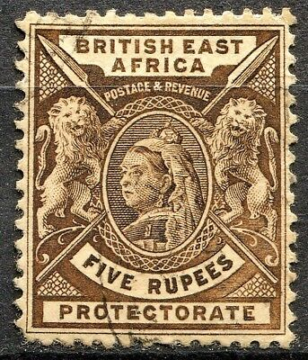 British East Africa 1896, SG 79, 5 Rupees Sepia, used, CV £42