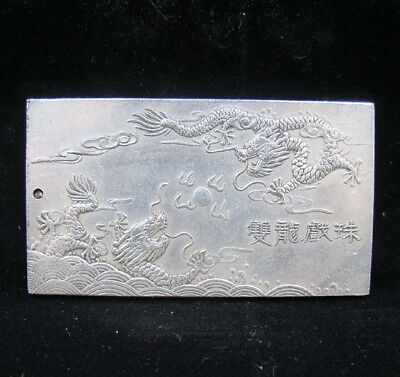 Collectable Handmade Carved Statue Tibet Silver Amulet Pendant Dragon
