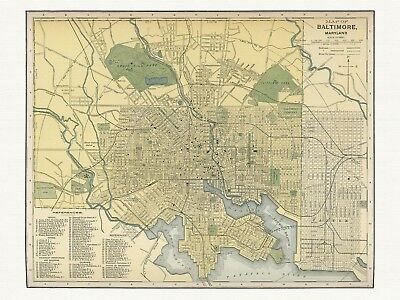 Old Antique Decorative Map of Baltimore Maryland Appleton ca. 1892