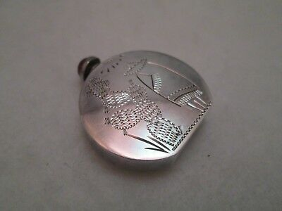 Vintage Sterling Silver Signed Mexico Etched Perfume Scent Bottle Cabochon Lid