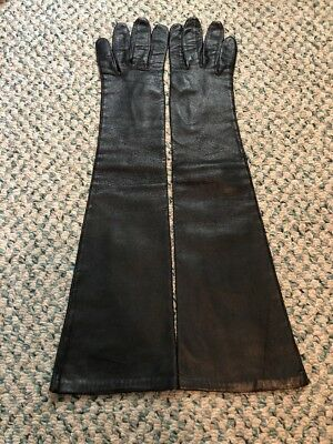 Vintage Ladies Long Opera Shoulder Length Kid Leather Gloves  France Size 7.5
