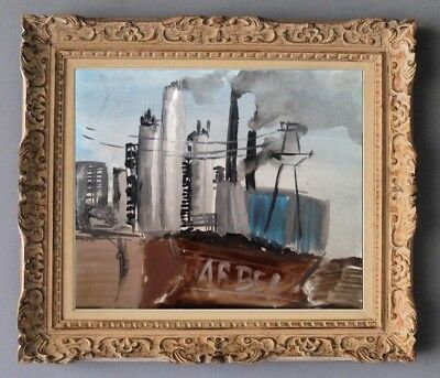 Andre Duffour (1926-2016) Peinture Scene Industrielle Siderurgie 1950 (938)
