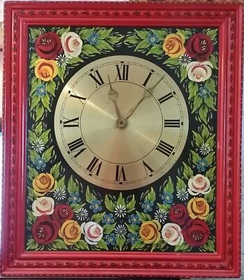 Vintage Russian Khokhloma DECO Wooden BRASS FACE hand made UNIQUE  wall clock