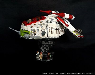 Display stand 3D +slots for Lego 75021-7676 Republic Gunship
