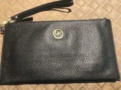 ceaeac6d3cbb MICHAEL KORS FULTON LARGE ZIP CLUTCH WRISTLET black LEATHER Wallet WOMEN